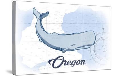 Oregon - Whale - Blue - Coastal Icon-Lantern Press-Stretched Canvas Print