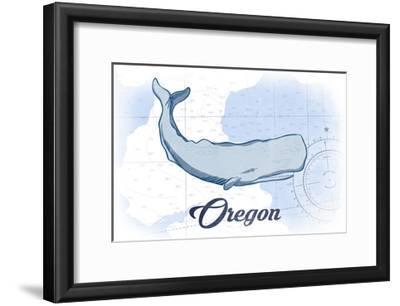 Oregon - Whale - Blue - Coastal Icon-Lantern Press-Framed Art Print