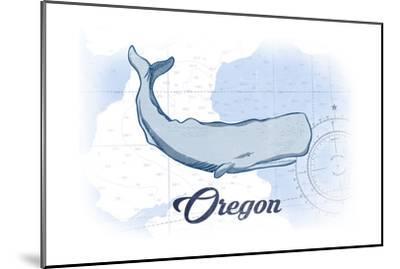 Oregon - Whale - Blue - Coastal Icon-Lantern Press-Mounted Art Print