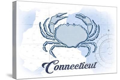 Connecticut - Crab - Blue - Coastal Icon-Lantern Press-Stretched Canvas Print