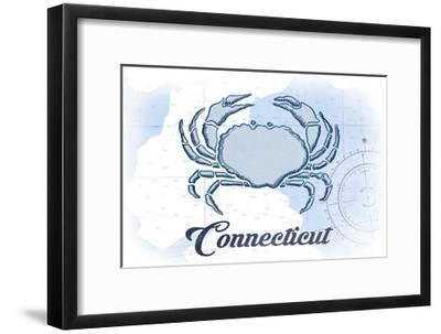 Connecticut - Crab - Blue - Coastal Icon-Lantern Press-Framed Art Print