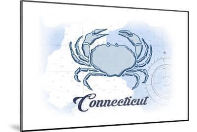 Connecticut - Crab - Blue - Coastal Icon-Lantern Press-Mounted Art Print