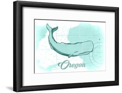 Oregon - Whale - Teal - Coastal Icon-Lantern Press-Framed Art Print