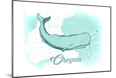Oregon - Whale - Teal - Coastal Icon-Lantern Press-Mounted Art Print