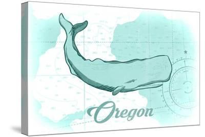 Oregon - Whale - Teal - Coastal Icon-Lantern Press-Stretched Canvas Print
