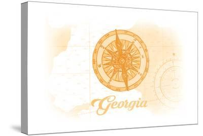 Georgia - Compass - Yellow - Coastal Icon-Lantern Press-Stretched Canvas Print