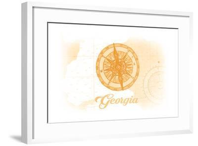 Georgia - Compass - Yellow - Coastal Icon-Lantern Press-Framed Art Print