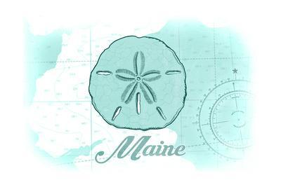 Maine - Sand Dollar - Teal - Coastal Icon-Lantern Press-Framed Art Print