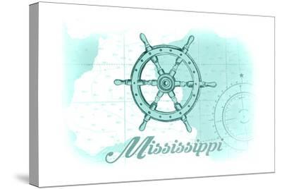 Mississippi - Ship Wheel - Teal - Coastal Icon-Lantern Press-Stretched Canvas Print