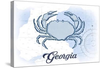 Georgia - Crab - Blue - Coastal Icon-Lantern Press-Stretched Canvas Print