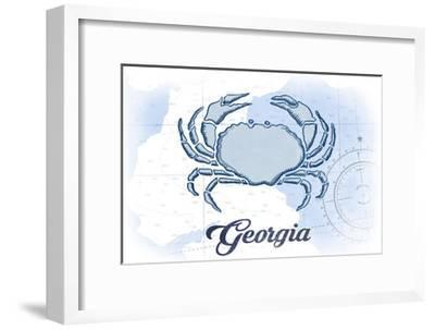 Georgia - Crab - Blue - Coastal Icon-Lantern Press-Framed Art Print