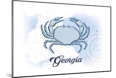 Georgia - Crab - Blue - Coastal Icon-Lantern Press-Mounted Art Print