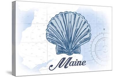 Maine - Scallop Shell - Blue - Coastal Icon-Lantern Press-Stretched Canvas Print