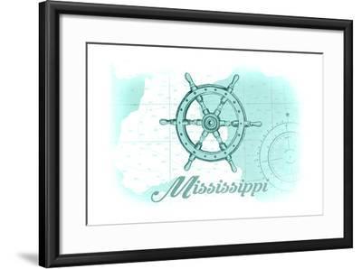 Mississippi - Ship Wheel - Teal - Coastal Icon-Lantern Press-Framed Art Print