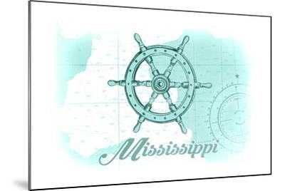 Mississippi - Ship Wheel - Teal - Coastal Icon-Lantern Press-Mounted Art Print