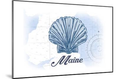 Maine - Scallop Shell - Blue - Coastal Icon-Lantern Press-Mounted Art Print