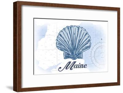 Maine - Scallop Shell - Blue - Coastal Icon-Lantern Press-Framed Art Print