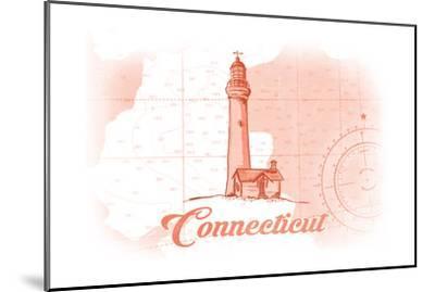 Connecticut - Lighthouse - Coral - Coastal Icon-Lantern Press-Mounted Art Print