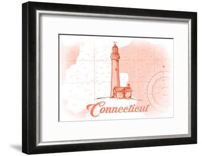 Connecticut - Lighthouse - Coral - Coastal Icon-Lantern Press-Framed Art Print