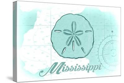 Mississippi - Sand Dollar - Teal - Coastal Icon-Lantern Press-Stretched Canvas Print