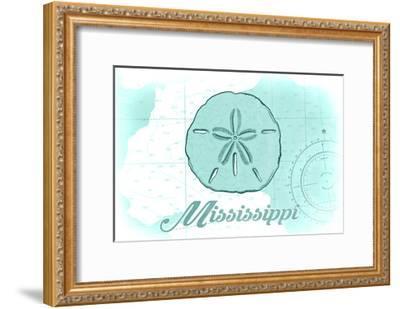 Mississippi - Sand Dollar - Teal - Coastal Icon-Lantern Press-Framed Art Print