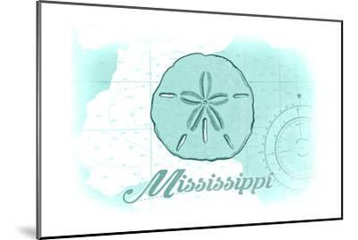 Mississippi - Sand Dollar - Teal - Coastal Icon-Lantern Press-Mounted Art Print