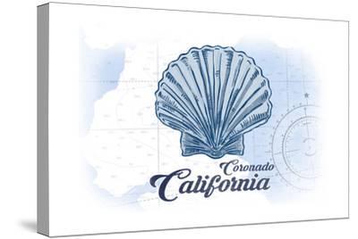 Coronado, California - Scallop Shell - Blue - Coastal Icon-Lantern Press-Stretched Canvas Print