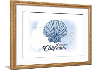 Coronado, California - Scallop Shell - Blue - Coastal Icon-Lantern Press-Framed Art Print