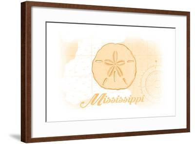 Mississippi - Sand Dollar - Yellow - Coastal Icon-Lantern Press-Framed Art Print