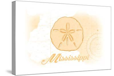 Mississippi - Sand Dollar - Yellow - Coastal Icon-Lantern Press-Stretched Canvas Print