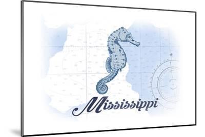 Mississippi - Seahorse - Blue - Coastal Icon-Lantern Press-Mounted Art Print