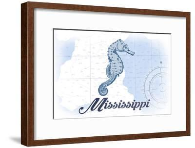 Mississippi - Seahorse - Blue - Coastal Icon-Lantern Press-Framed Art Print