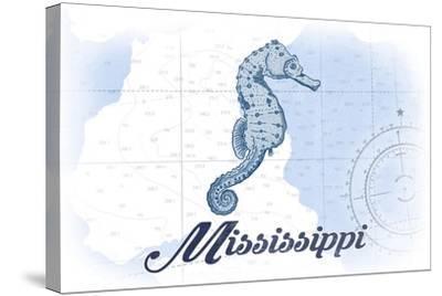 Mississippi - Seahorse - Blue - Coastal Icon-Lantern Press-Stretched Canvas Print