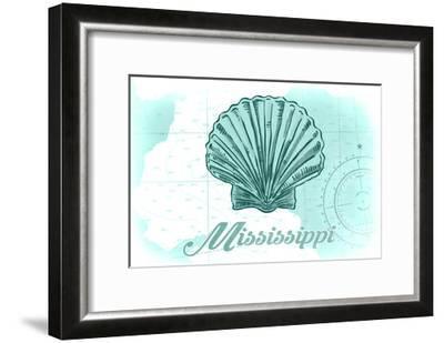 Mississippi - Scallop Shell - Teal - Coastal Icon-Lantern Press-Framed Art Print