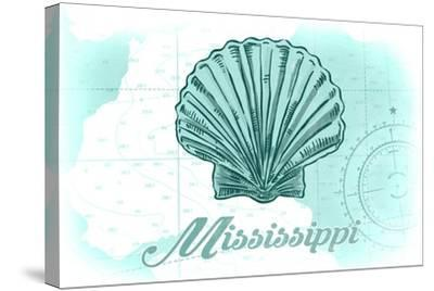 Mississippi - Scallop Shell - Teal - Coastal Icon-Lantern Press-Stretched Canvas Print