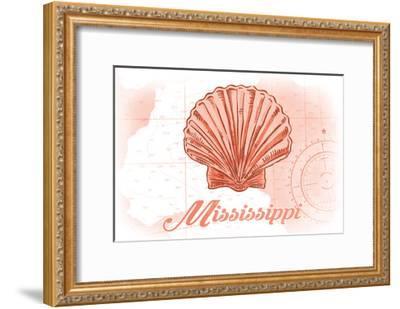 Mississippi - Scallop Shell - Coral - Coastal Icon-Lantern Press-Framed Art Print