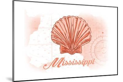 Mississippi - Scallop Shell - Coral - Coastal Icon-Lantern Press-Mounted Art Print