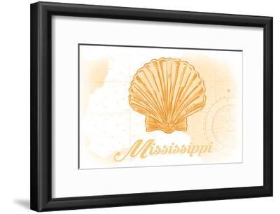 Mississippi - Scallop Shell - Yellow - Coastal Icon-Lantern Press-Framed Art Print