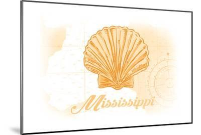 Mississippi - Scallop Shell - Yellow - Coastal Icon-Lantern Press-Mounted Art Print