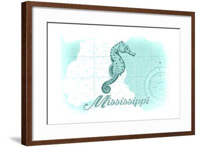 Mississippi - Seahorse - Teal - Coastal Icon-Lantern Press-Framed Art Print