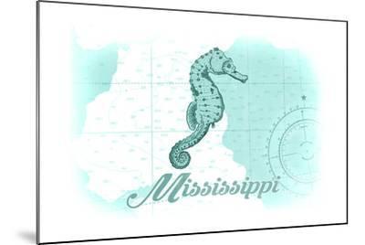 Mississippi - Seahorse - Teal - Coastal Icon-Lantern Press-Mounted Art Print