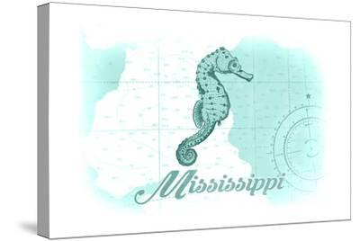 Mississippi - Seahorse - Teal - Coastal Icon-Lantern Press-Stretched Canvas Print