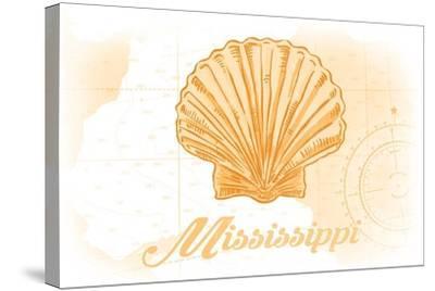 Mississippi - Scallop Shell - Yellow - Coastal Icon-Lantern Press-Stretched Canvas Print