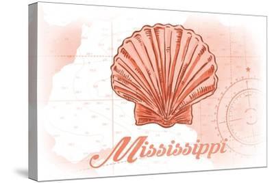 Mississippi - Scallop Shell - Coral - Coastal Icon-Lantern Press-Stretched Canvas Print
