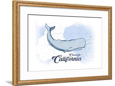 Coronado, California - Whale - Blue - Coastal Icon-Lantern Press-Framed Art Print