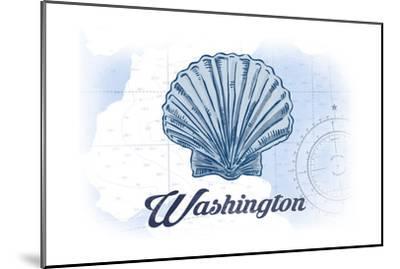 Washington - Scallop Shell - Blue - Coastal Icon-Lantern Press-Mounted Art Print