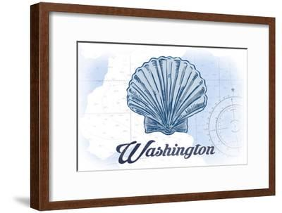 Washington - Scallop Shell - Blue - Coastal Icon-Lantern Press-Framed Art Print