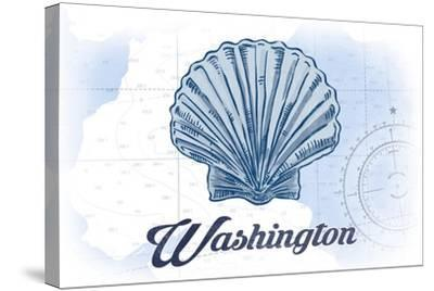 Washington - Scallop Shell - Blue - Coastal Icon-Lantern Press-Stretched Canvas Print
