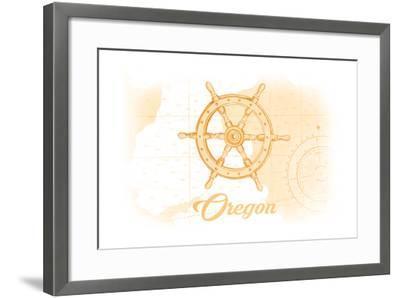 Oregon - Ship Wheel - Yellow - Coastal Icon-Lantern Press-Framed Art Print