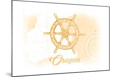 Oregon - Ship Wheel - Yellow - Coastal Icon-Lantern Press-Mounted Art Print